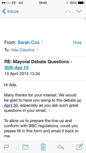 invite to mayoral debate