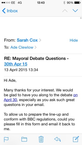 invite to mayoral debate